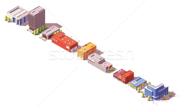 Vector low poly isometric buildings set Stock photo © tele52