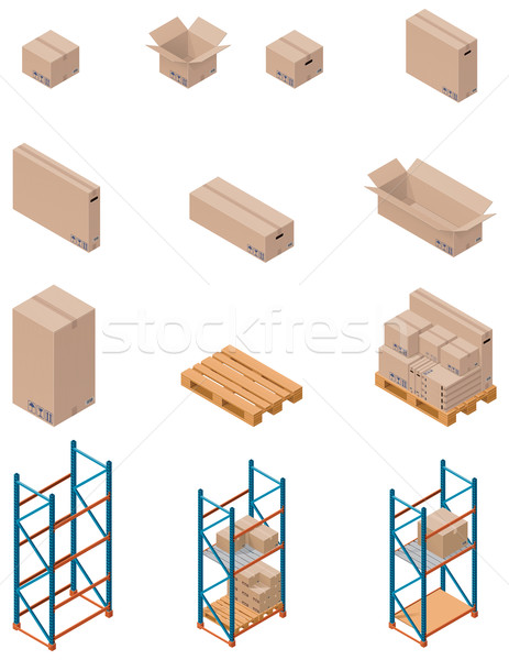 Vector boxes and shelving Stock photo © tele52