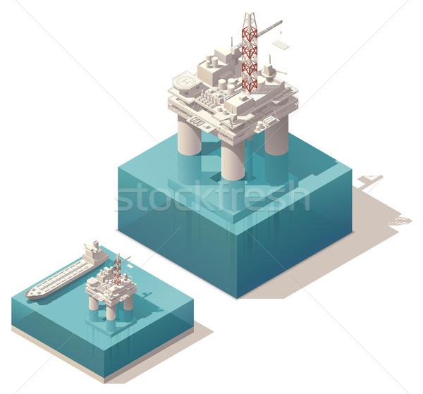Isométrique pétrolières plate-forme vecteur plate-forme pétrolière réservoir Photo stock © tele52
