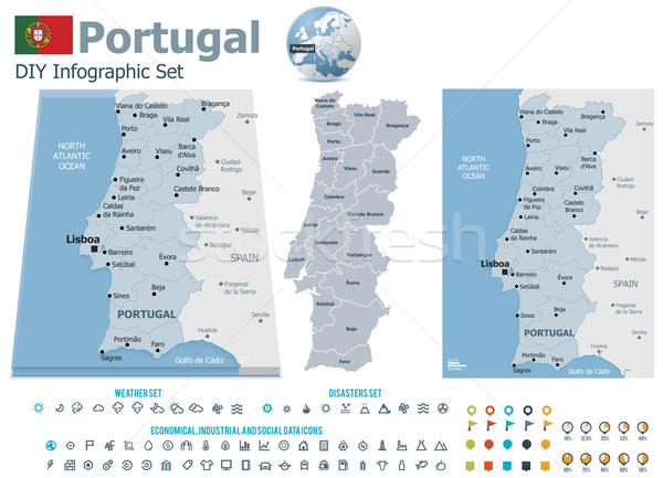 Stock photo: Portugal maps with markers