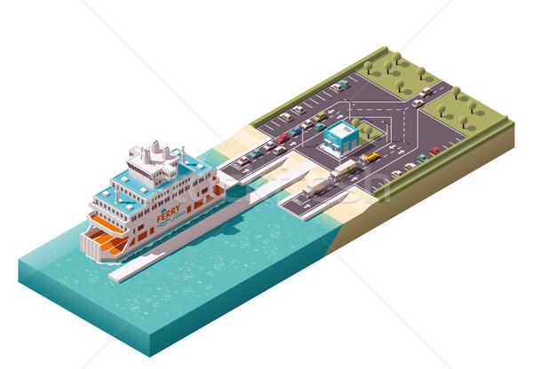 Vetor isométrica balsa porta ícones porto Foto stock © tele52