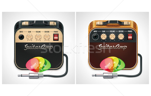 Vector guitar amplifier with picks and jack connector XXL icon Stock photo © tele52