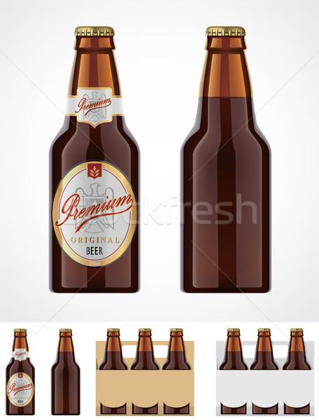 Vektor sörösüveg ikon részletes barna üveg Stock fotó © tele52