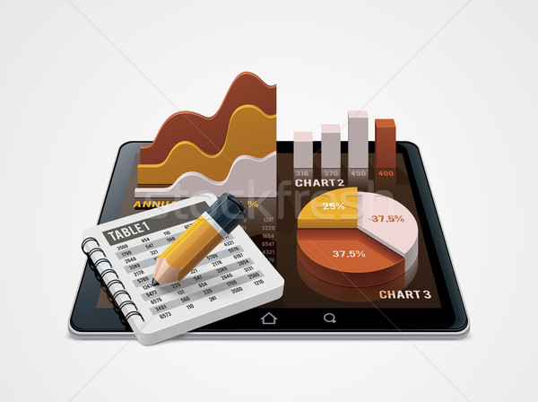 Vector chart and table editor icon Stock photo © tele52