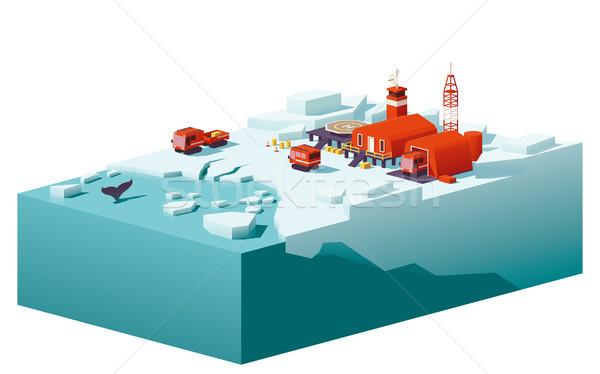 Vector low poly polar station Stock photo © tele52