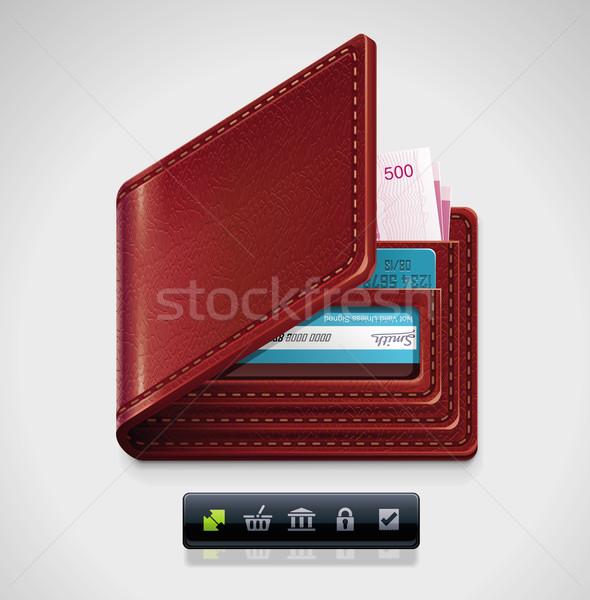 Wektora skóry portfela xxl icon szczegółowy ikona Zdjęcia stock © tele52