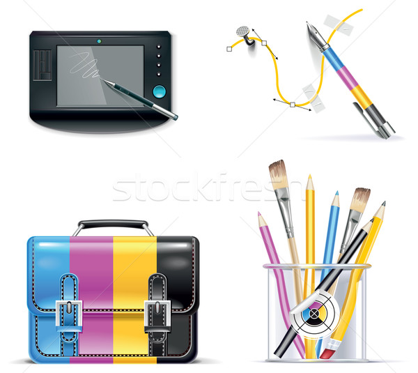 Vector print shop icon set. Part 3 Stock photo © tele52