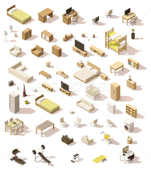 Vector isometric low poly domestic furniture set Stock photo © tele52