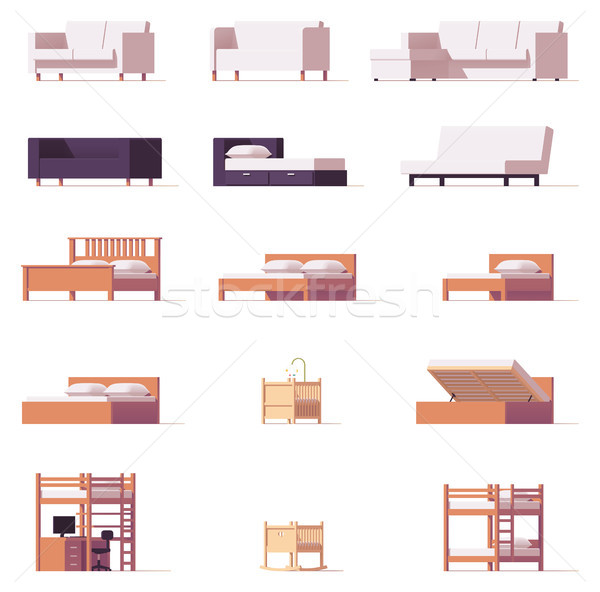 Vector beds and sofas set Stock photo © tele52