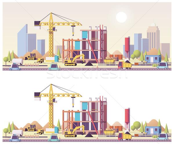 Vektor alacsony építkezés épület ház város Stock fotó © tele52