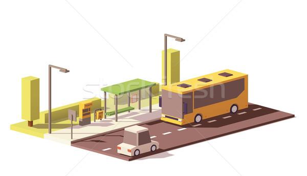 Wektora niski autobus przystanek autobusowy bilet maszyny Zdjęcia stock © tele52