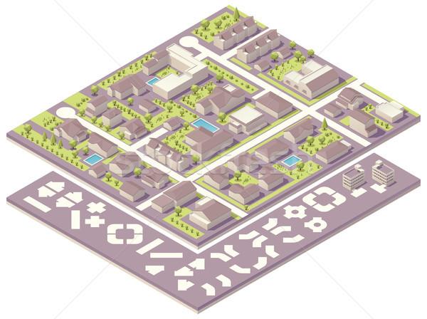 Izometrikus kisváros térkép teremtés készlet szett Stock fotó © tele52