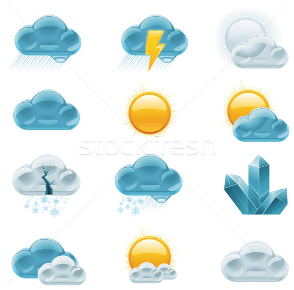 Vector weather forecast icons. Part 1 Stock photo © tele52