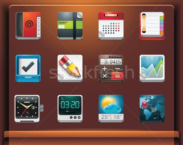 Mobiele iconen papier boek wereldbol Stockfoto © tele52