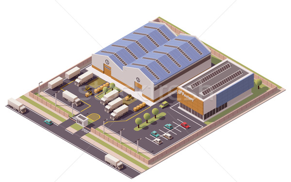 Vector isometric factory buildings icon Stock photo © tele52
