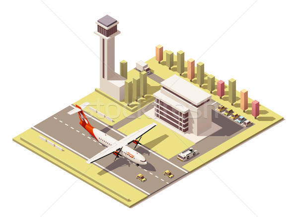 Vector isometric minimalistic low poly airport building and airplane landing Stock photo © tele52