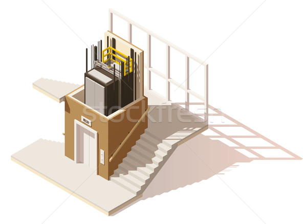 Vector isometric low poly elevator cutaway icon Stock photo © tele52