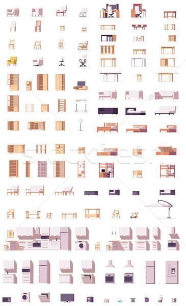 Foto stock: Vetor · baixo · mobiliário · conjunto · cadeiras