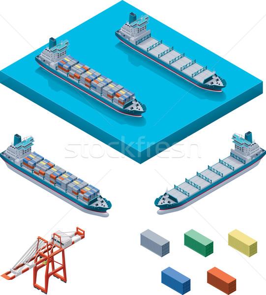 Stock photo: Vector container ship with crane