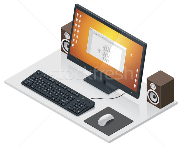 Vector workplace with computer and peripherals  Stock photo © tele52