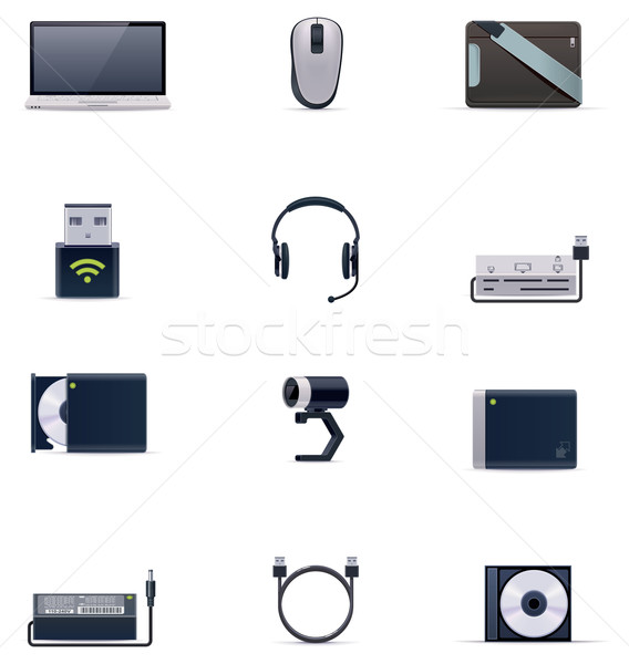 Stock fotó: Vektor · laptop · kellékek · ikon · gyűjtemény · szett · technológia
