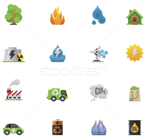 Vector ecology icon set Stock photo © tele52