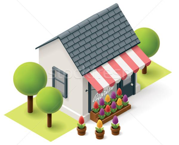 Wektora izometryczny kwiaciarz sklep kwiat sklepu Zdjęcia stock © tele52