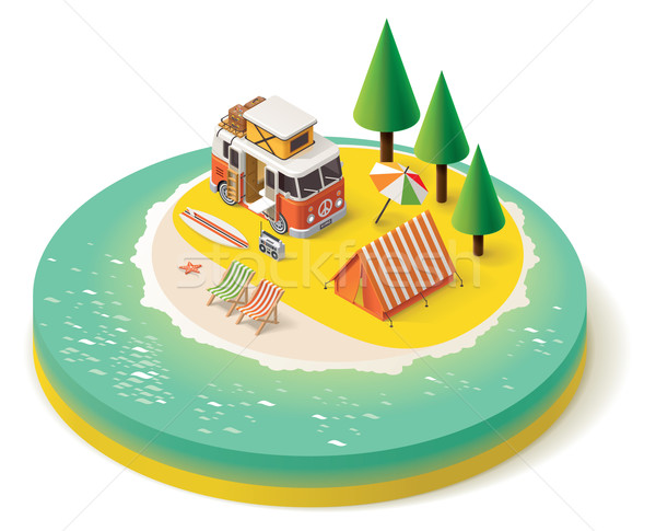 Vector isometric camper travel icon 3 Stock photo © tele52