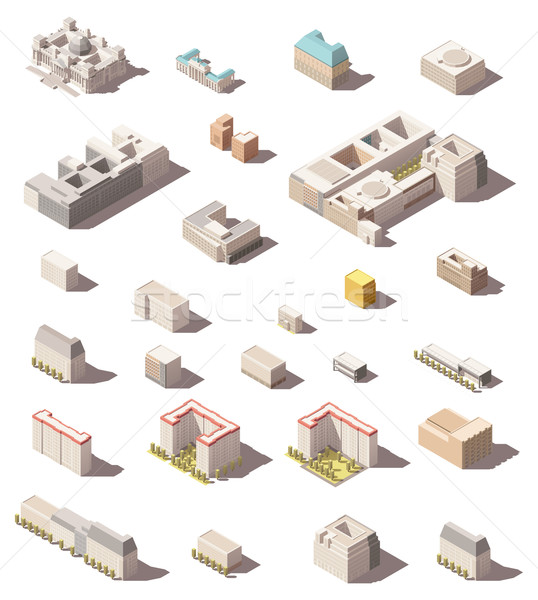 Vector isometric minimalistic low poly icon set or map infographic elements city buildings, homes an Stock photo © tele52