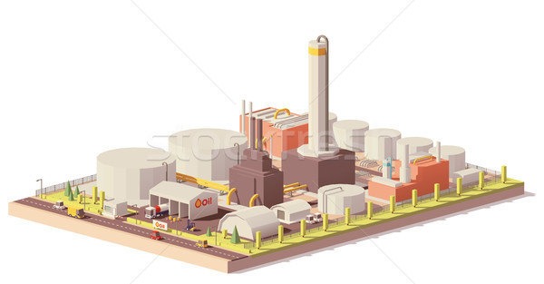 Vector low poly oil refinery plant Stock photo © tele52