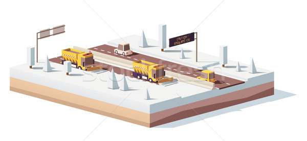 Vector low poly snowplows working on the highway Stock photo © tele52