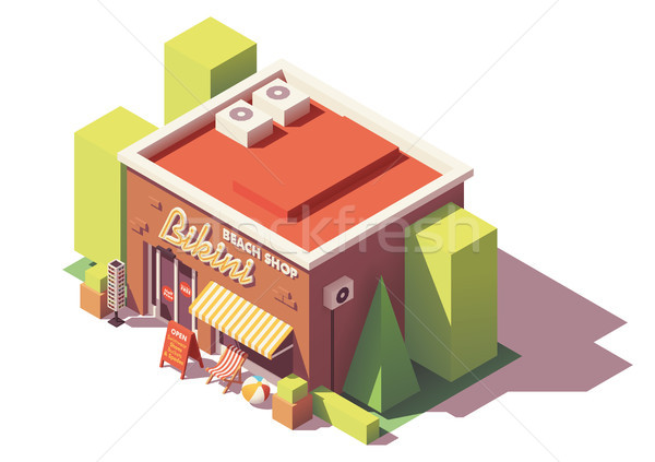 Vector isometrische strand winkel uitrusting gebouw Stockfoto © tele52
