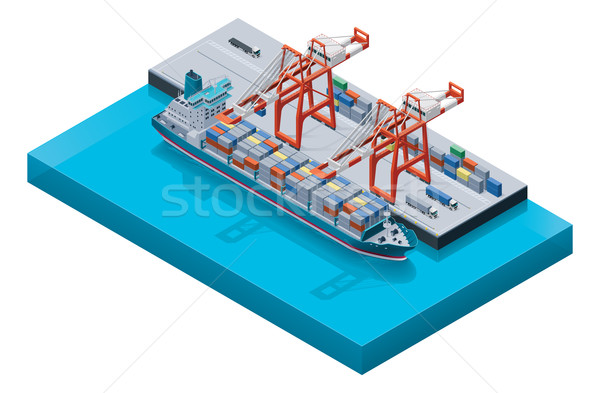 Vector container ship with cranes  in port Stock photo © tele52