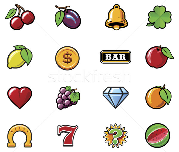 Vector slot machine symbols set Stock photo © tele52