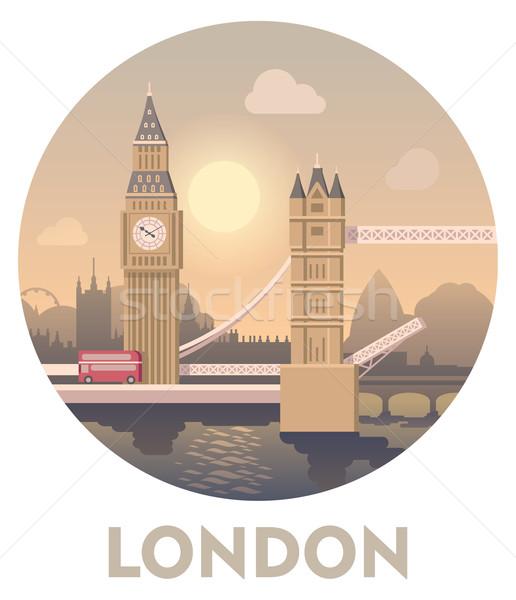 úticél London vektor ikon víz naplemente Stock fotó © tele52