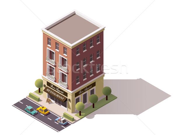 Vector isometric restaurant building Stock photo © tele52