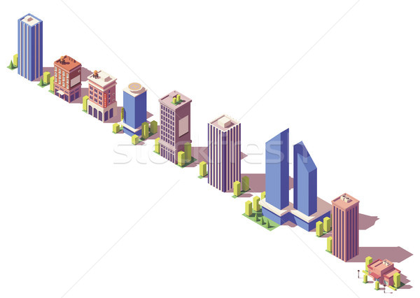 Vector low poly isometric modern buildings set Stock photo © tele52