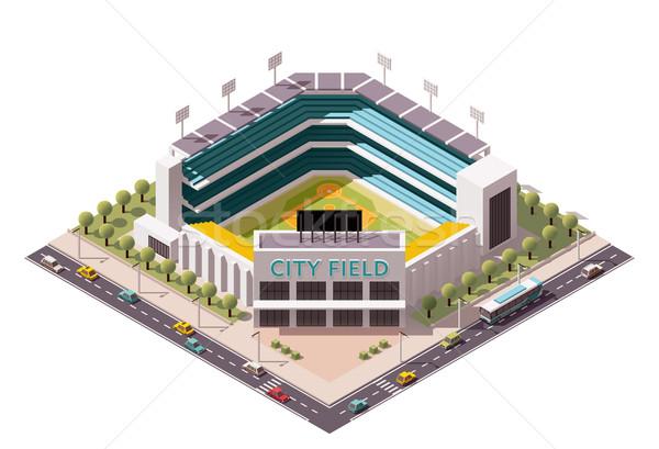 Сток-фото: вектора · изометрический · бейсбольной · арена · икона · стадион