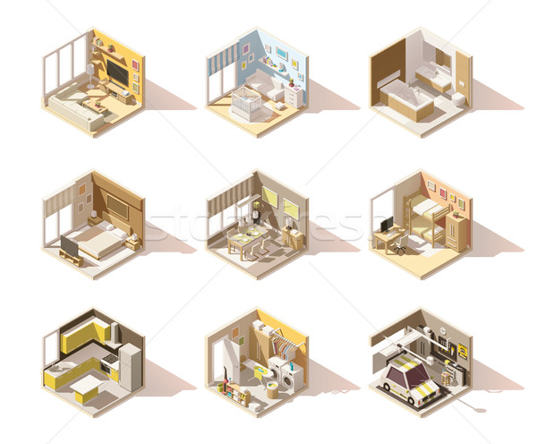 Vector isometric low poly home rooms set Stock photo © tele52
