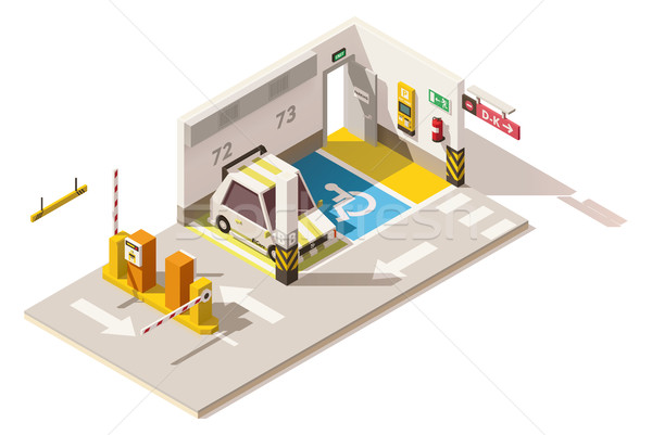 Wektora izometryczny niski podziemnych samochodu parking Zdjęcia stock © tele52