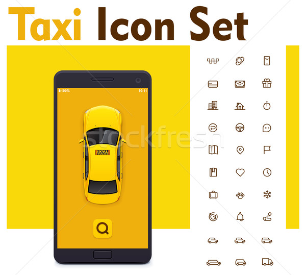 Vector taxi mobile app icon set Stock photo © tele52