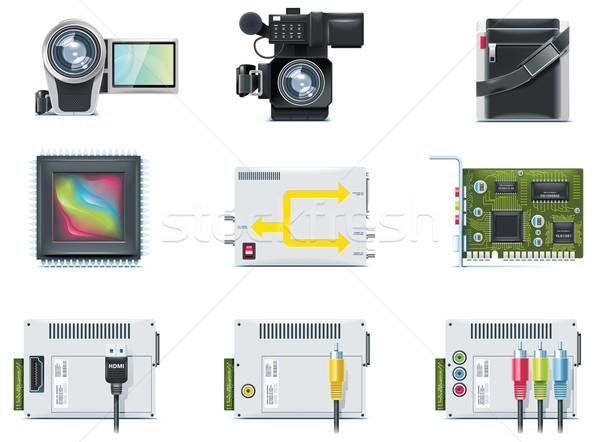Stockfoto: Vector · video · iconen · ingesteld · web · film
