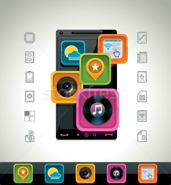 Vecteur smartphone icône détaillée téléphone Photo stock © tele52