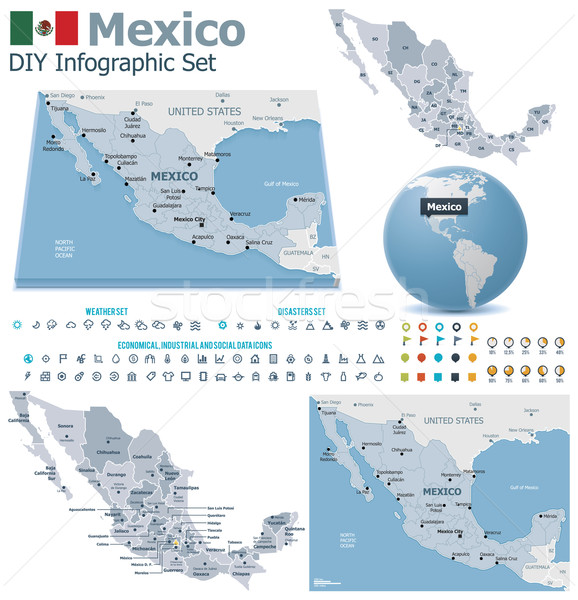 Stock photo: United Mexican States maps with markers