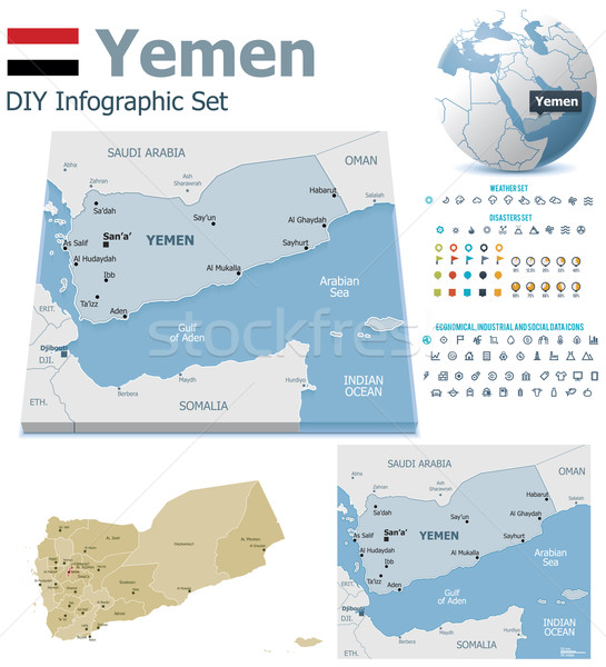 Yemen maps with markers Stock photo © tele52