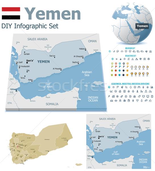 Iémen mapas conjunto político símbolos Foto stock © tele52