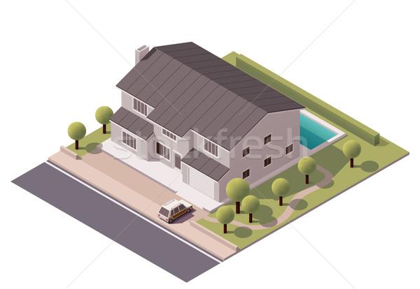 Vektor Haus Symbol Hinterhof Stadt Vektor Grafiken