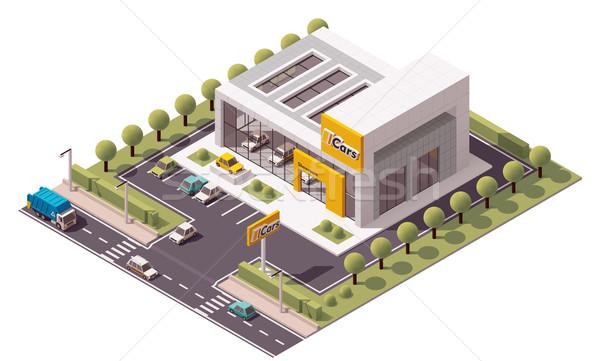 Vecteur voiture salle d'exposition isométrique magasin bâtiment Photo stock © tele52