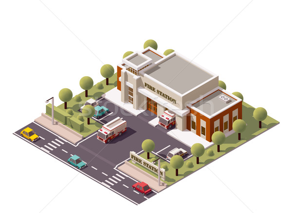 Vector isometric fire station Stock photo © tele52