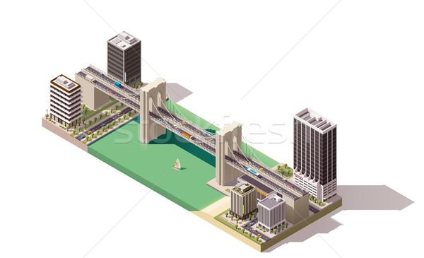 Photo stock: Vecteur · isométrique · ville · carte · rivière · ponts